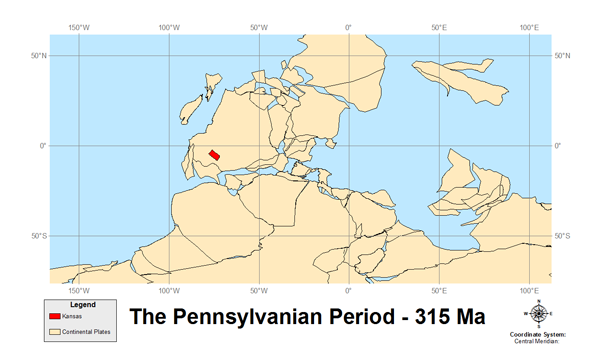 Reconstruction of global paleogeography during the Pennsylvanian. Map produced using Paleoweb (http://www.paleogis.com/).